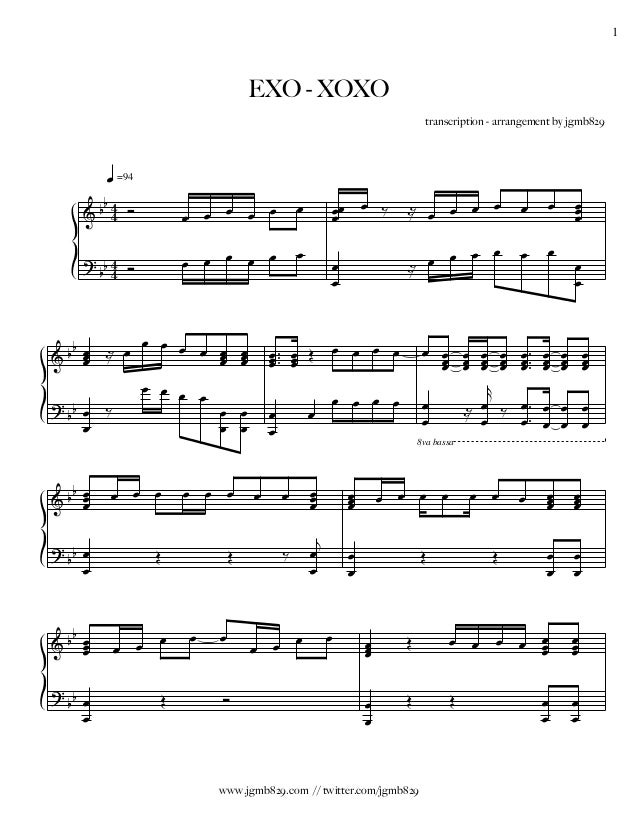 EXO XOXO Piano Sheet Music