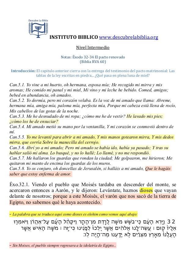 INSTITUTO BIBLICO www.descubrelabiblia.orgNivel IntermedioNotas: Éxodo 32-‐34 El pacto renovado(Biblia ...