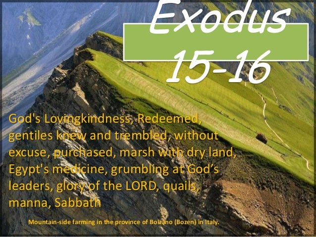 Exodus 15-16 Mountain-side farming in the province of Bolzano (Bozen) in Italy. God's Lovingkindness, Redeemed, gentiles k...