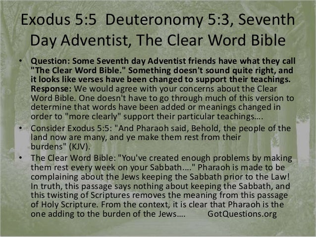 Exodus 4, 5, 6, clear word bible, 7th day adventist, the