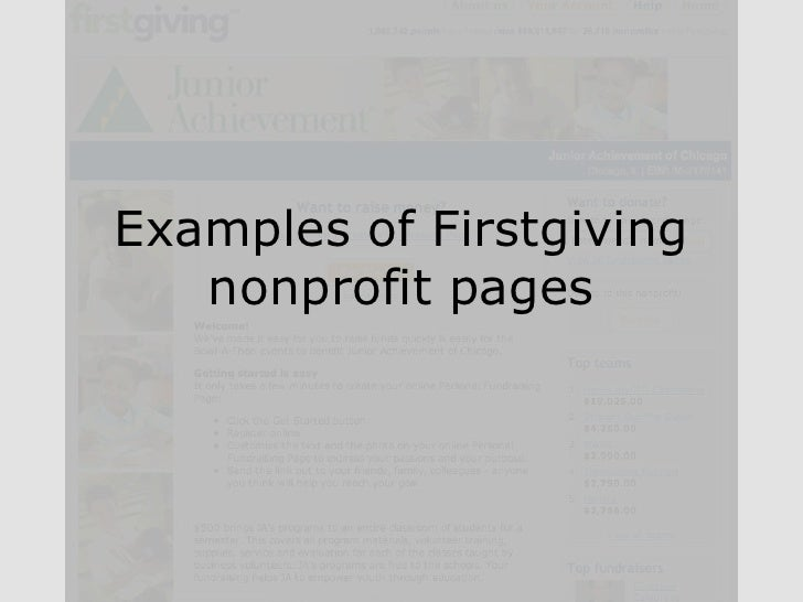 Examples of Firstgiving nonprofit pages<br />