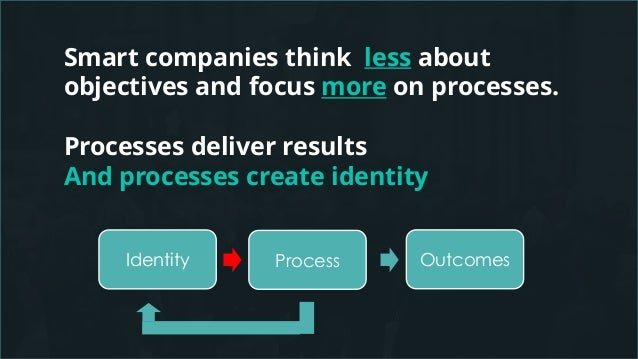 Smart companies think less about objectives and focus more on processes. Processes deliver results And processes create id...