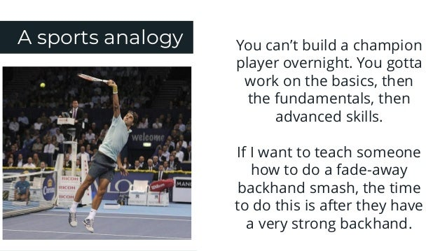 A sports analogy You can't build a champion player overnight. You gotta work on the basics, then the fundamentals, then ad...