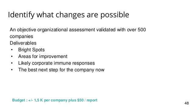 Identify what changes are possible An objective organizational assessment validated with over 500 companies Deliverables •...