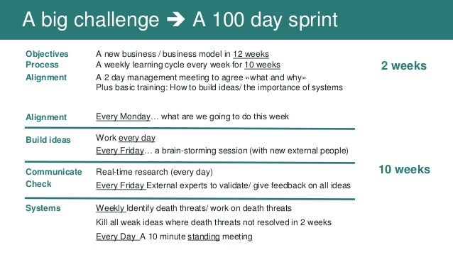 Objectives Process Alignment A new business / business model in 12 weeks A weekly learning cycle every week for 10 weeks A...