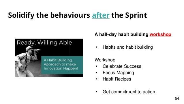Solidify the behaviours after the Sprint A half-day habit building workshop • Habits and habit building Workshop • Celebra...