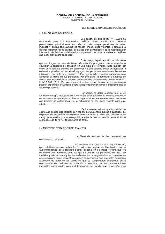 CONTRALORIA GENERAL DE LA REPUBLICADIVISION DE TOMA DE RAZON Y REGISTROSUBDIVISION JURIDICALEY SOBRE EXONERADOS POLÍTICOSI...