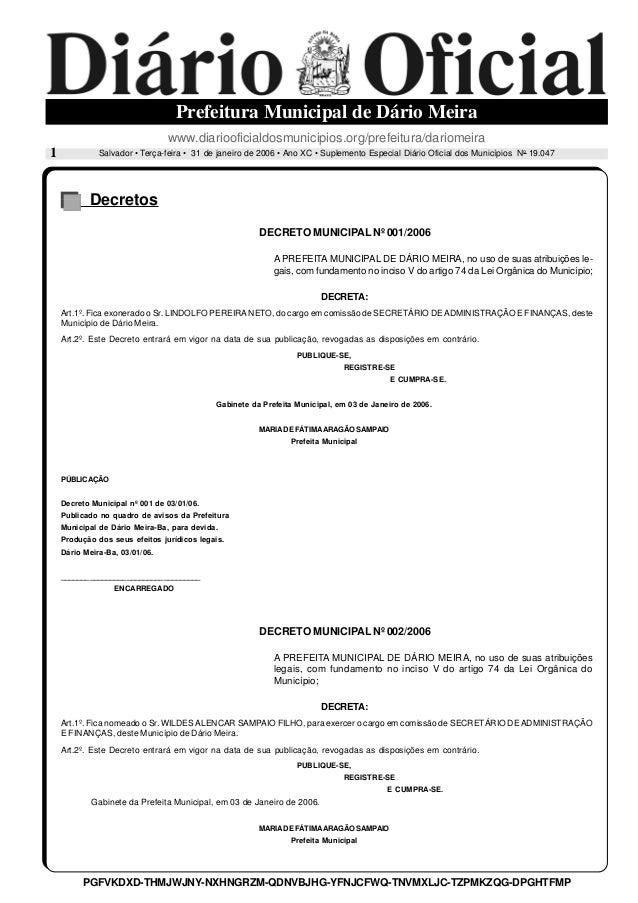 Salvador • Terça-feira • 31 de janeiro de 2006 • Ano XC • Suplemento Especial Diário Oficial dos Municípios No 19.047 Pref...