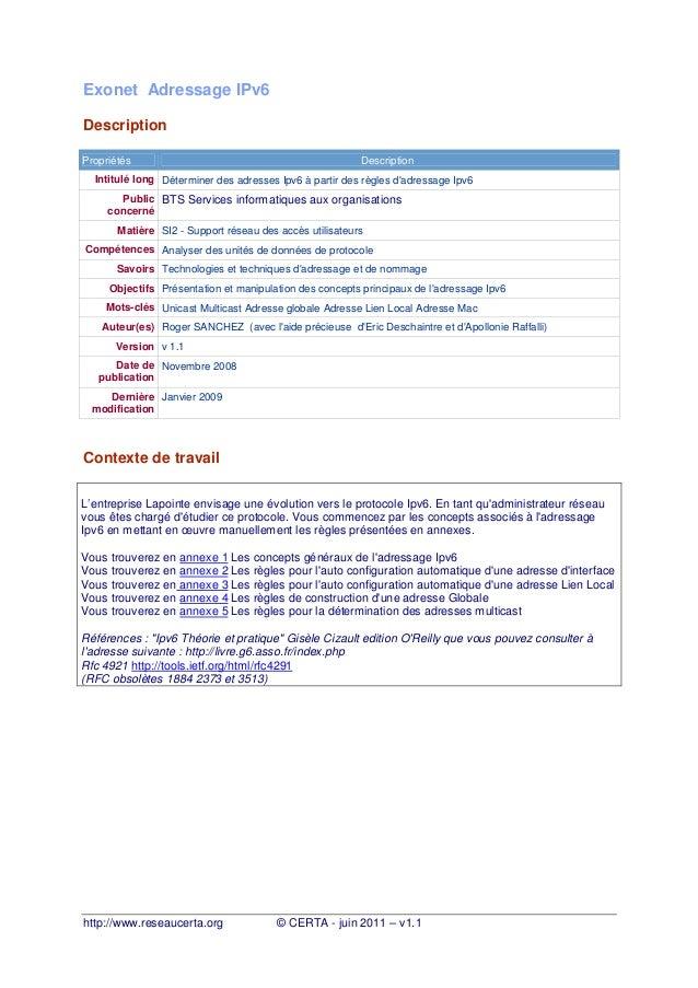 Exonet Adressage IPv6 Description Propriétés  Description  Intitulé long Déterminer des adresses Ipv6 à partir des règles ...