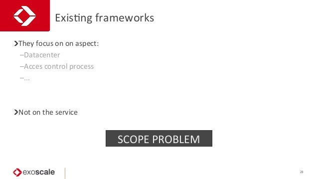 ExisJng  frameworks   23   They  focus  on  on  aspect:   –Datacenter   –Acces  control  process...