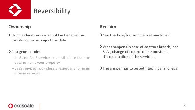 Reversibility   30   Using  a  cloud  service,  should  not  enable  the   transfer  of  ownershi...