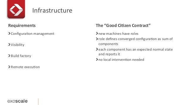 Infrastructure   ! ConfiguraEon  management      ! Visibility   ! Build  factory   ! Remote  execuEon ...