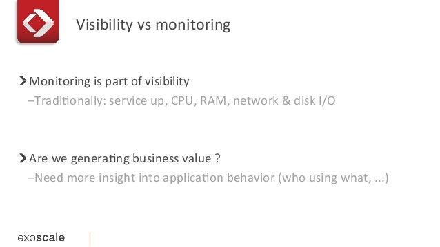 Visibility  vs  monitoring   !   Monitoring  is  part  of  visibility   –TradiEonally:  service  u...
