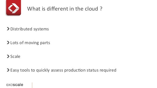 What  is  different  in  the  cloud  ?   !   Distributed  systems   !   Lots  of  moving  par...