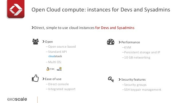 Open  Cloud  compute:  instances  for  Devs  and  Sysadmins   ! Direct,  simple  to  use  cloud ...