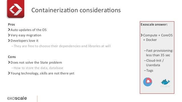 Containeriza1on  considera1ons   Exoscale  answer:   Compute  +  CoreOS   +  Docker   –Fast  provisi...