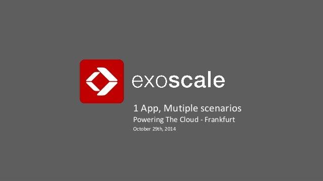 1 App, Mutiple scenarios  Powering The Cloud - Frankfurt  October 29th, 2014