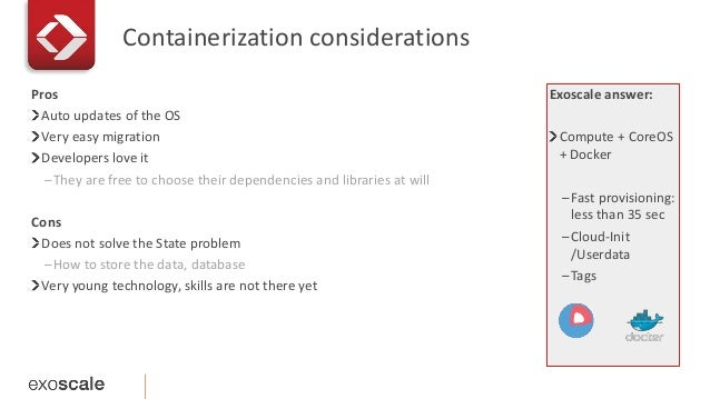 Containerization considerations  Exoscale answer:  Compute + CoreOS  + Docker  –Fast provisioning:  less than 35 sec  –Clo...