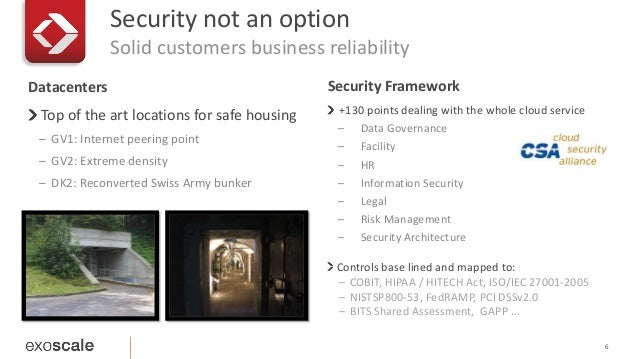 Security not an option  Solid customers business reliability  6  Datacenters Security Framework  Top of the art locations ...