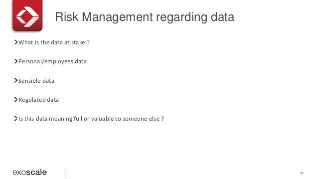 Risk Management regarding data 14 What is the data at stake ? Personal/employees data Sensible data Regulated data Is this...