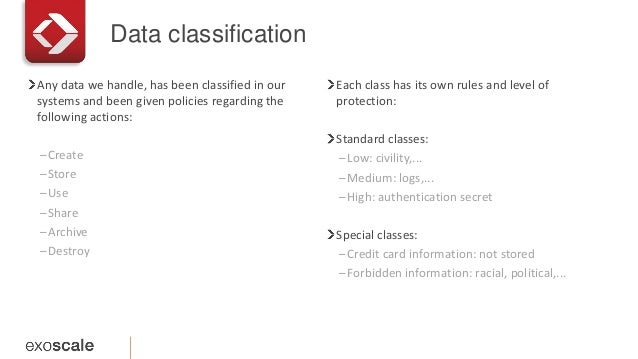 Data classification Any data we handle, has been classified in our systems and been given policies regarding the following...