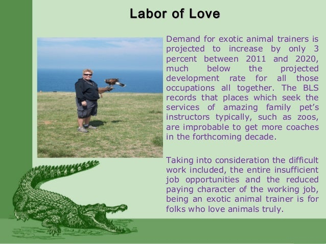 Labor of LoveLabor of Love Demand for exotic animal trainers is projected to increase by only 3 percent between 2011 and 2...