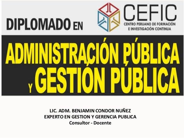 LIC. ADM. BENJAMIN CONDOR NUÑEZEXPERTO EN GESTION Y GERENCIA PUBLICA          Consultor - Docente