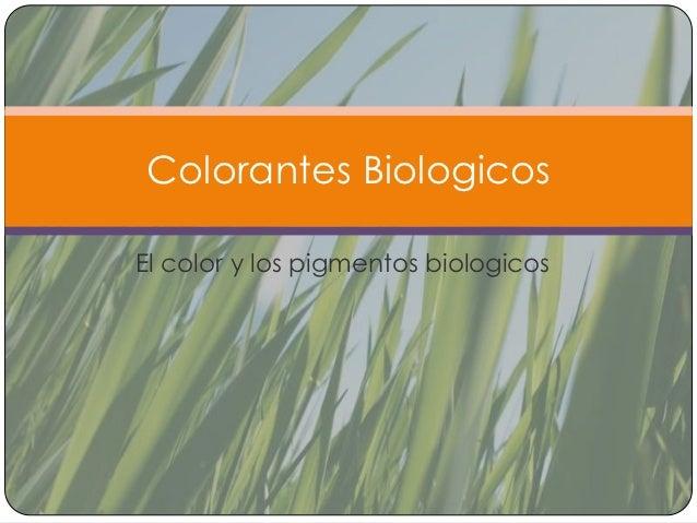 Colorantes BiologicosEl color y los pigmentos biologicos