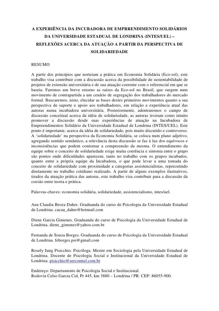 A EXPERIÊNCIA DA INCUBADORA DE EMPRRENDIMENTO SOLIDÁRIOS       DA UNIVERSIDADE ESTADUAL DE LONDRINA (INTES/UEL) –  REFLEXÕ...