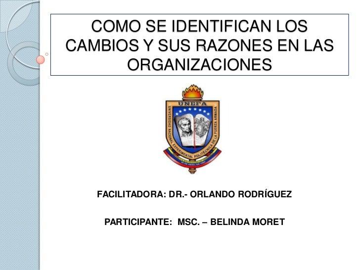 COMO SE IDENTIFICAN LOS CAMBIOS Y SUS RAZONES EN LAS ORGANIZACIONES FACILITADORA: DR.- ORLANDO RODRÍGUEZ PARTICIPANTE:  MS...
