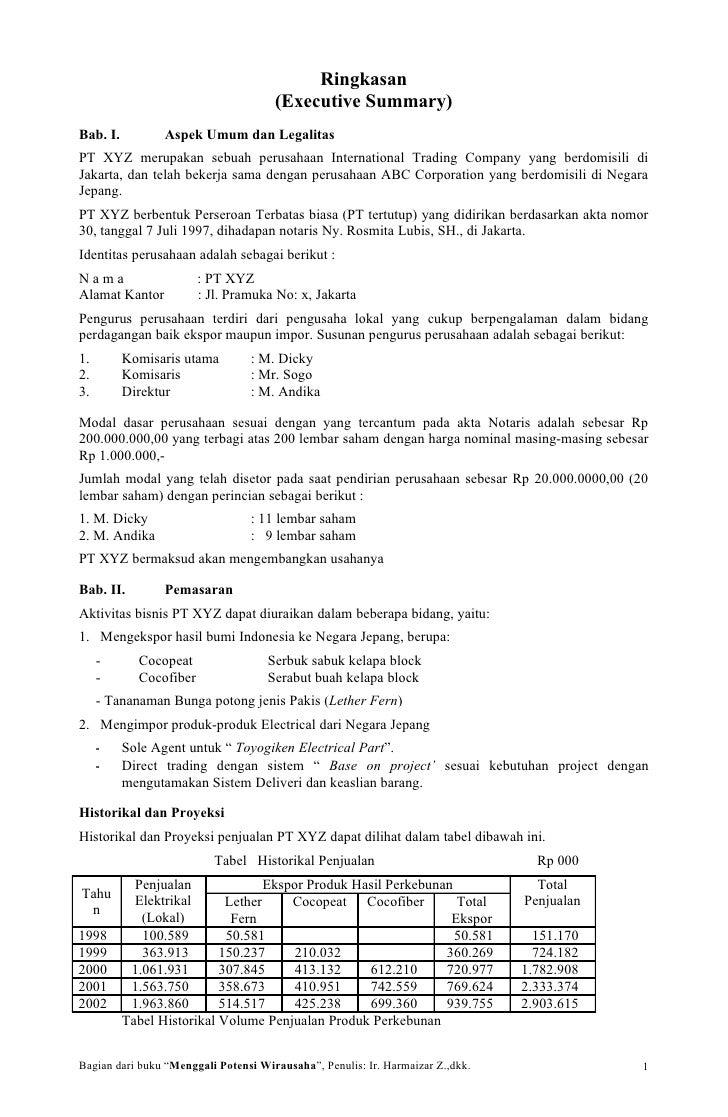 Ringkasan                                       (Executive Summary) Bab. I.          Aspek Umum dan Legalitas PT XYZ merup...