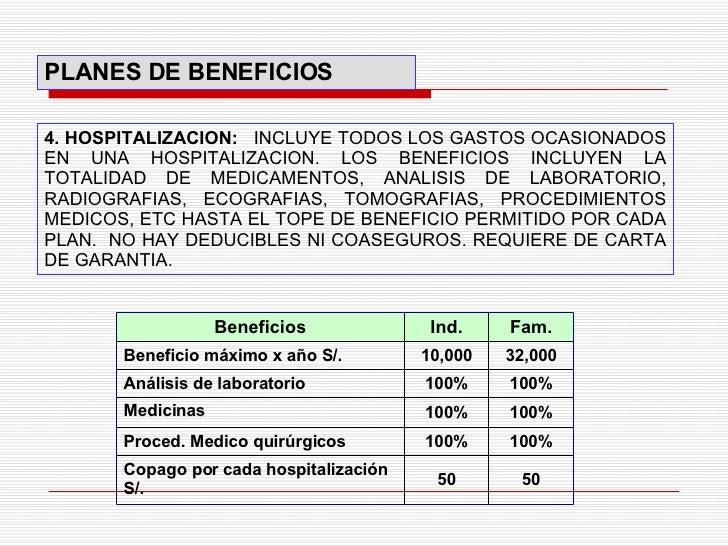 4. HOSPITALIZACION:  INCLUYE TODOS LOS GASTOS OCASIONADOS EN UNA HOSPITALIZACION. LOS BENEFICIOS INCLUYEN LA TOTALIDAD DE ...