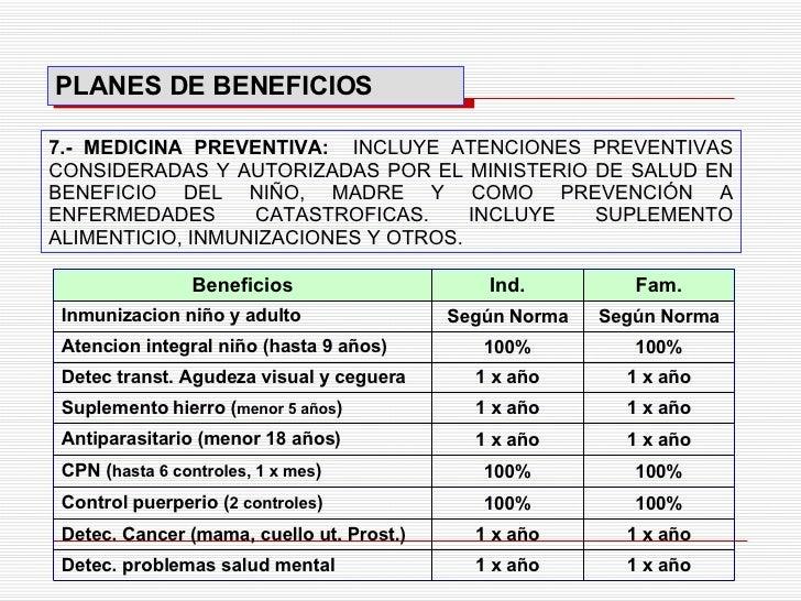 7.- MEDICINA PREVENTIVA:   INCLUYE ATENCIONES PREVENTIVAS CONSIDERADAS Y AUTORIZADAS POR EL MINISTERIO DE SALUD EN BENEFIC...