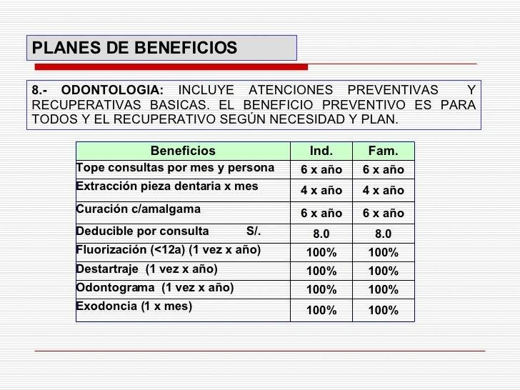 8.- ODONTOLOGIA:  INCLUYE ATENCIONES PREVENTIVAS  Y RECUPERATIVAS BASICAS. EL BENEFICIO PREVENTIVO ES PARA TODOS Y EL RECU...