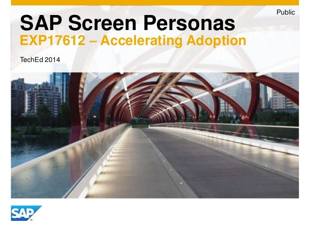 SAP Screen Personas  EXP17612 – Accelerating Adoption  Public  TechEd 2014