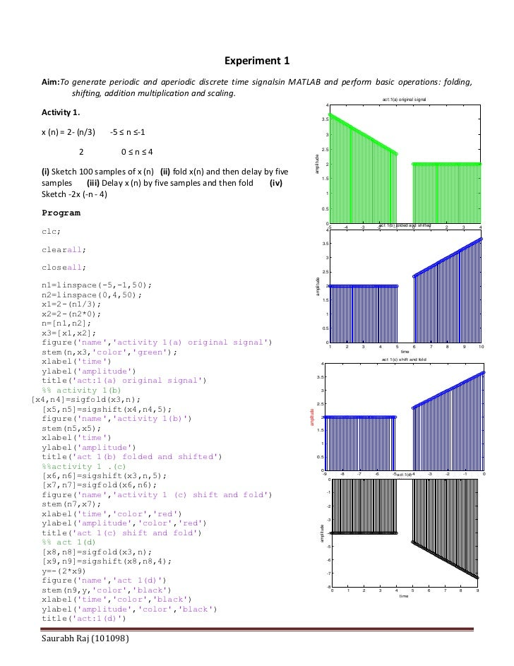 Experiment 1  Aim:To generate periodic and aperiodic discrete time signalsin MATLAB and perform basic operations: folding,...