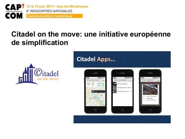 6E  RENCONTRES NATIONALES Citadel on the move: une initiative européenne de simplification