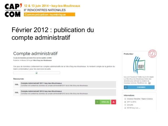 6E  RENCONTRES NATIONALES Février 2012 : publication du compte administratif