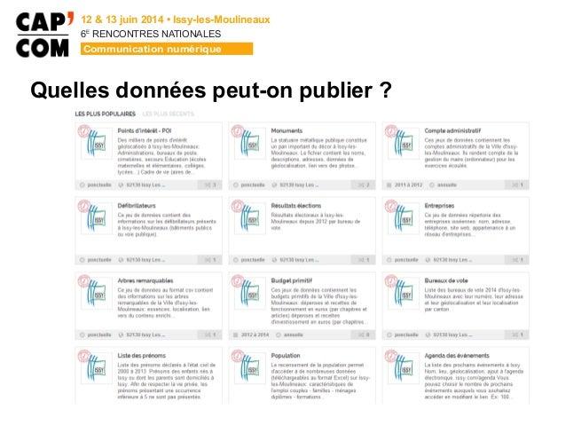 6E  RENCONTRES NATIONALES Quelles données peut-on publier ?