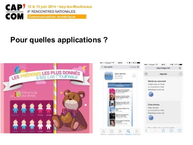 6E  RENCONTRES NATIONALES Pour quelles applications ?