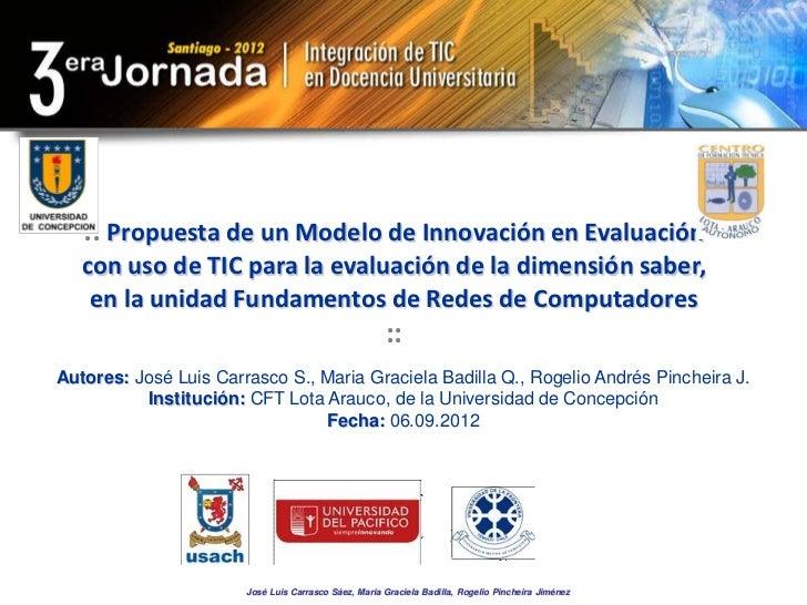 :: Propuesta de un Modelo de Innovación en Evaluación   con uso de TIC para la evaluación de la dimensión saber,    en la ...