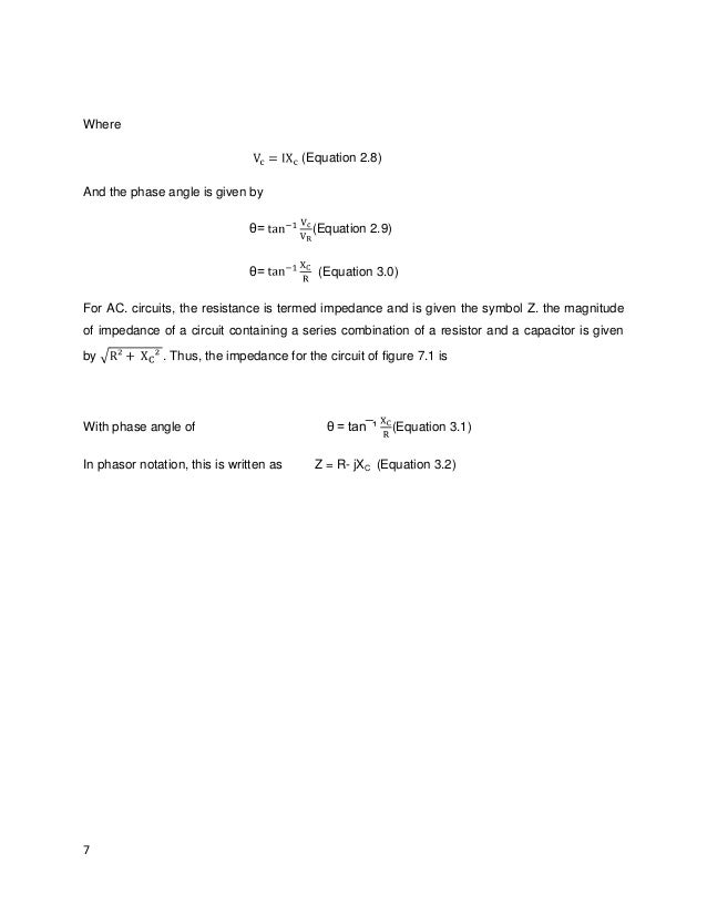 SERIES RESISTOR-CAPASITOR CIRCUIT experiment 7