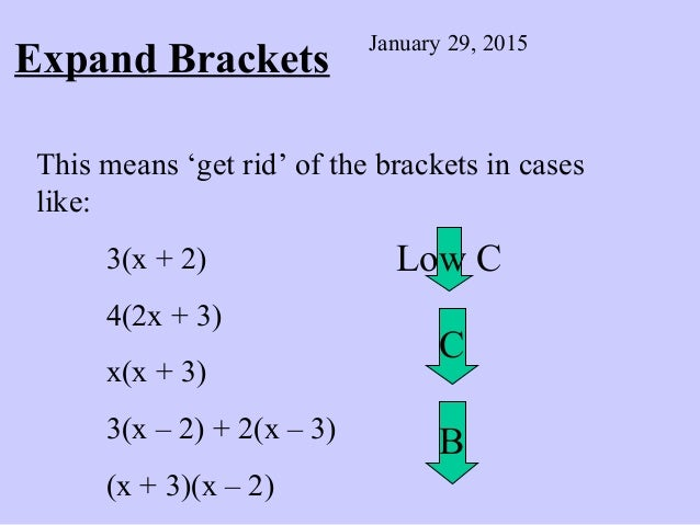 Expand Brackets January 29, 2015 This means 'get rid' of the brackets in cases like: 3(x + 2) 4(2x + 3) x(x + 3) 3(x – 2) ...