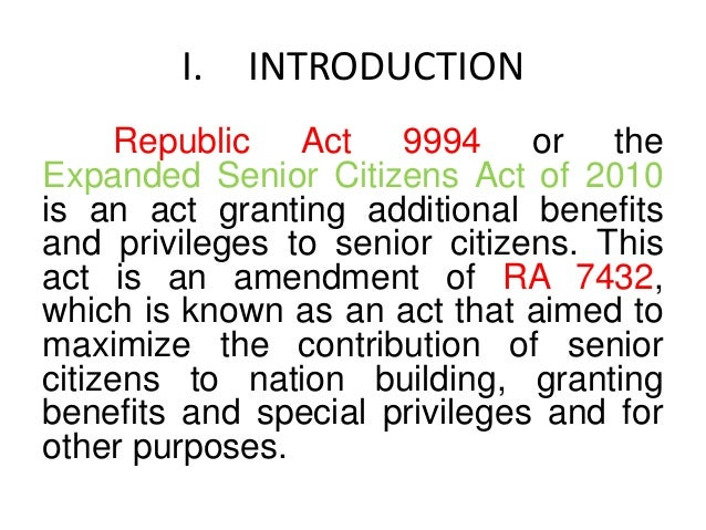 senior citizen act Maintenance and welfare of parents and senior citizens act, 2007 is a legislation enacted in 2007, initiated by ministry of social justice and empowerment, government of india, to provide more effective provision for maintenance and welfare of parents and senior citizens this act make it a legal obligation for children and heirs to provide maintenance to senior citizens and parents, by monthly allowance.