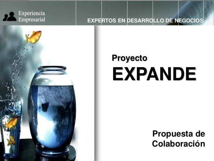 EXPERTOS EN DESARROLLO DE NEGOCIOS       Proyecto       EXPANDE                  Propuesta de                  Colaboración