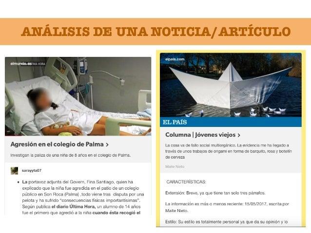ANÁLISIS DE UNA NOTICIA/ARTÍCULO