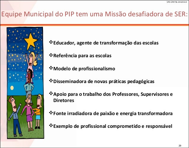 SPO-SP0756-20120114  Equipe Municipal do PIP tem uma Missão desafiadora de SER:  Educador, agente de transformação das es...