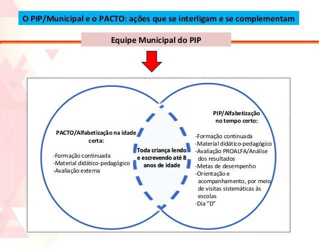 O PIP/Municipal e o PACTO: ações que se interligam e se complementam Equipe Municipal do PIP  PIP/Alfabetização no tempo c...