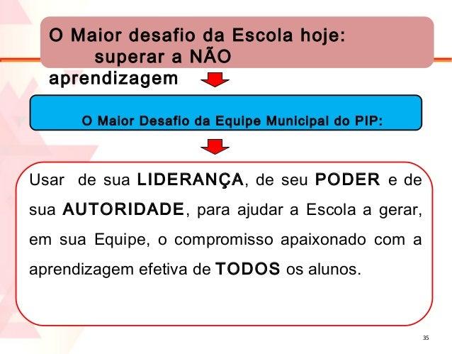 O Maior desafio da Escola hoje: superar a NÃO aprendizagem O Maior Desafio da Equipe Municipal do PIP:  Usar de sua LIDERA...