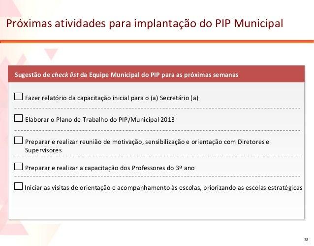 Próximas atividades para implantação do PIP Municipal  Sugestão de check list da Equipe Municipal do PIP para as próximas ...